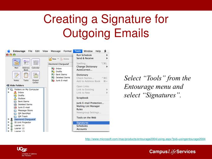 Creating a signature for outgoing emails