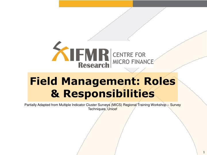 field management roles responsibilities n.