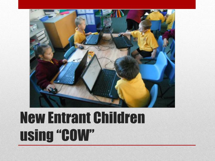 New entrant children using cow