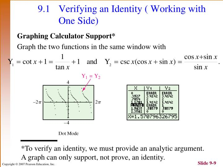 9 1 Verifying An Ideny Working With One Side Graphing Calculator Support