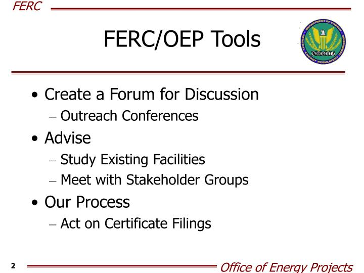 Ferc oep tools