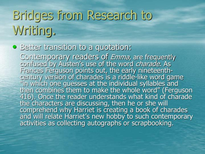 Bridges from Research to Writing.
