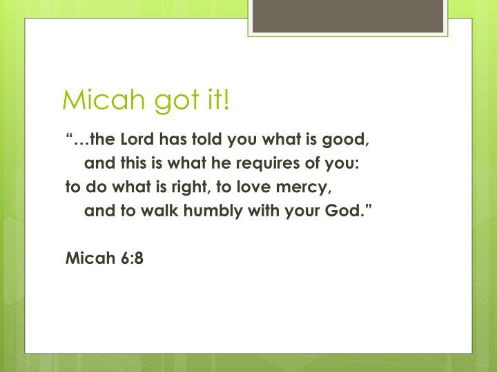 Micah got it!