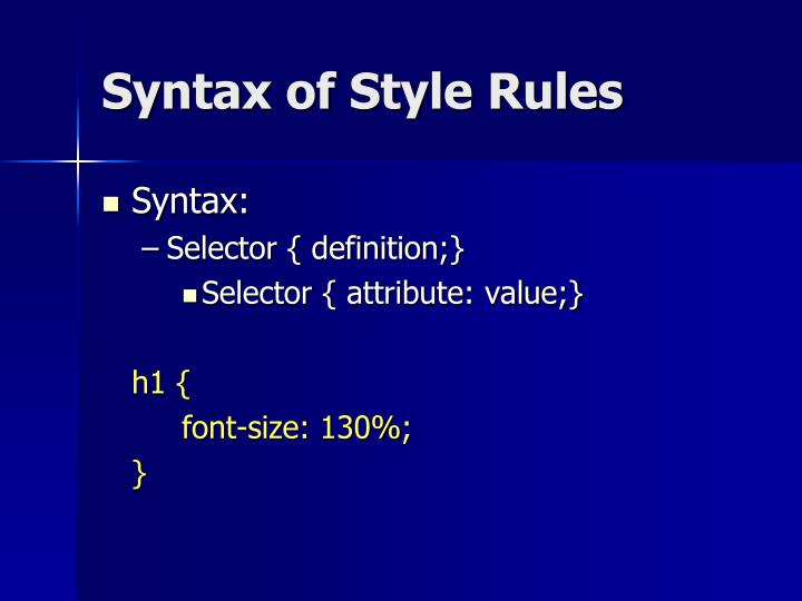 Syntax of Style Rules