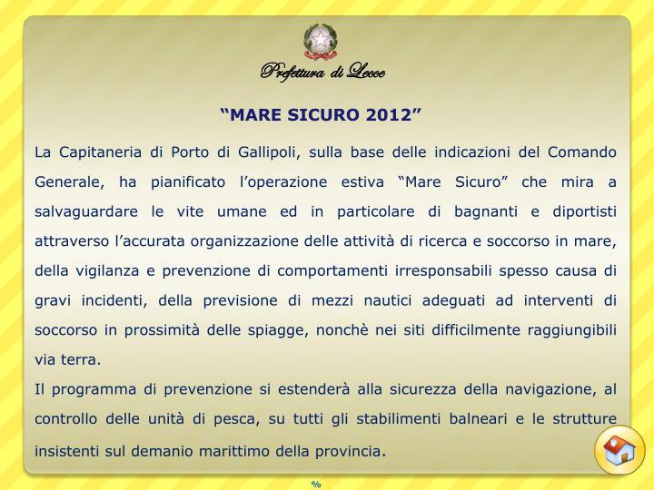 """""""MARE SICURO 2012"""""""