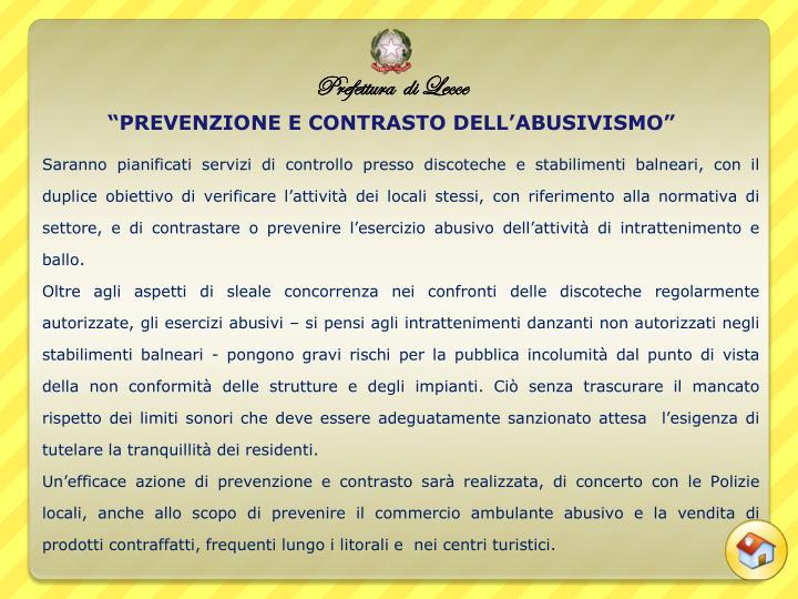 """""""PREVENZIONE E CONTRASTO DELL'ABUSIVISMO"""""""
