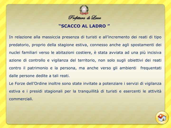 """""""SCACCO AL LADRO """""""