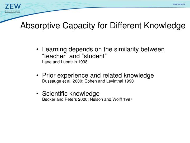 Absorptive Capacity for Different Knowledge
