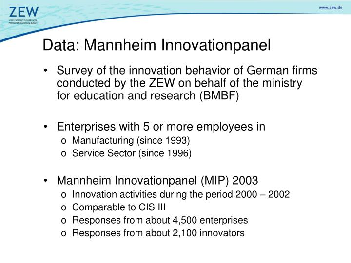 Data: Mannheim Innovationpanel