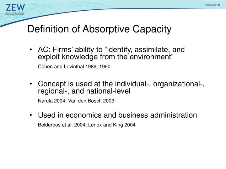 Definition of absorptive capacity