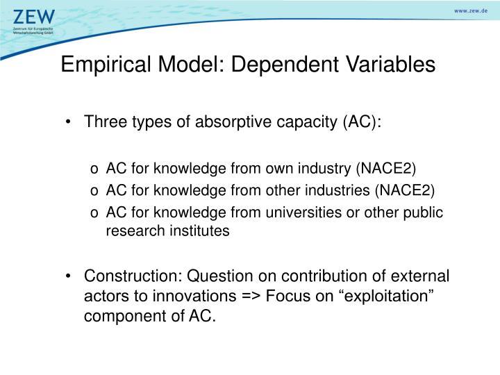 Empirical Model: Dependent Variables