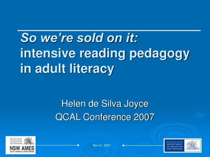 so we re sold on it intensive reading pedagogy in adult literacy