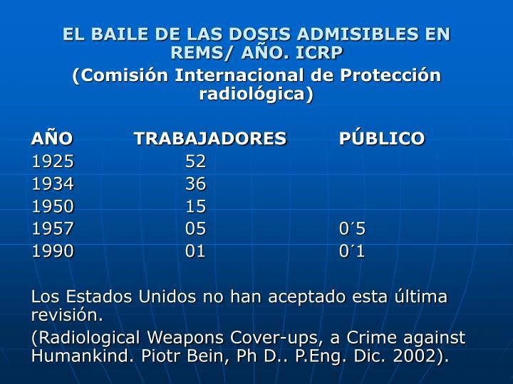 EL BAILE DE LAS DOSIS ADMISIBLES EN REMS/ AÑO. ICRP