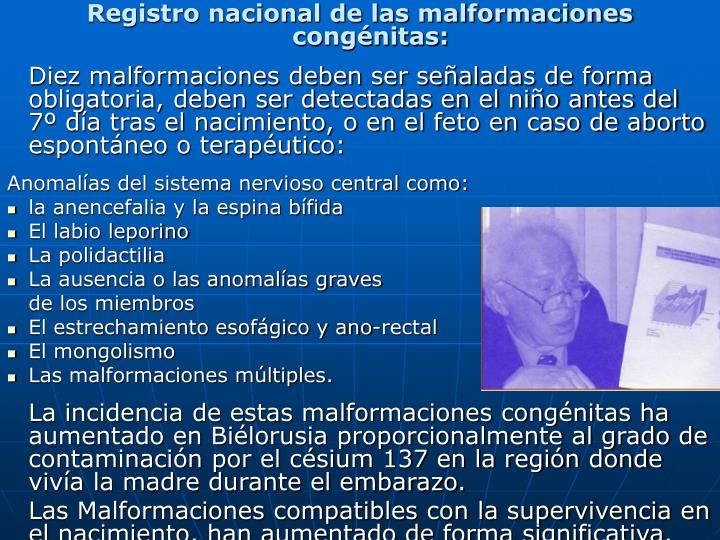 Registro nacional de las malformaciones congénitas: