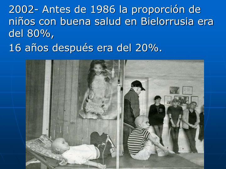 2002- Antes de 1986 la proporción de niños con buena salud en Bielorrusia era del 80%,