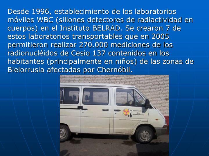 Desde 1996, establecimiento de los laboratorios móviles WBC (sillones detectores de radiactividad en cuerpos) en el Instituto BELRAD. Se crearon 7 de estos laboratorios transportables que en 2005 permitieron realizar 270.000 mediciones de los radionucléidos de Cesio 137 contenidos en los habitantes (principalmente en niños) de las zonas de Bielorrusia afectadas por Chernóbil.