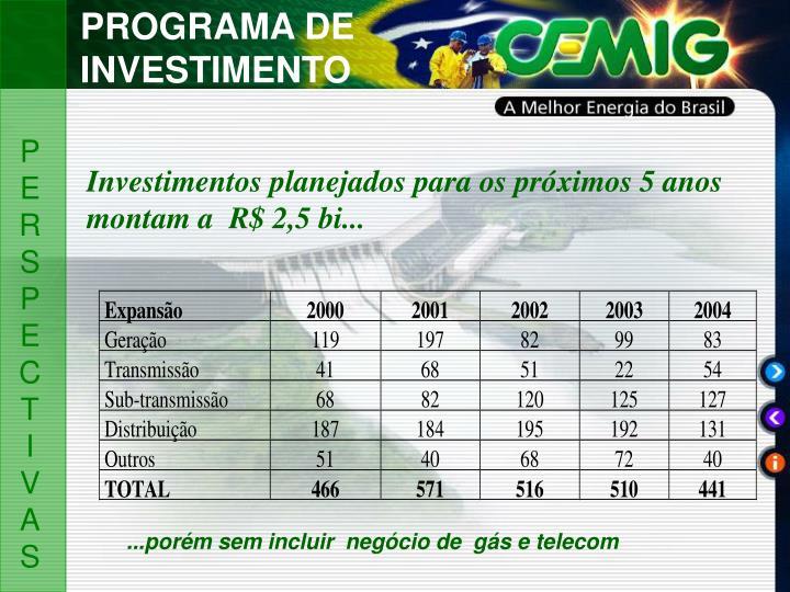PROGRAMA DE INVESTIMENTO