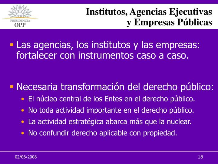 Institutos, Agencias Ejecutivas
