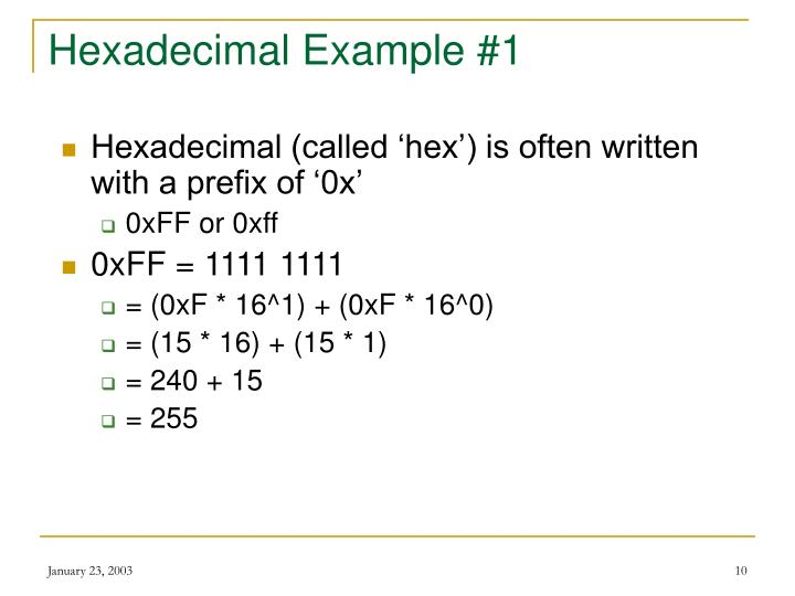 Hexadecimal Example #1