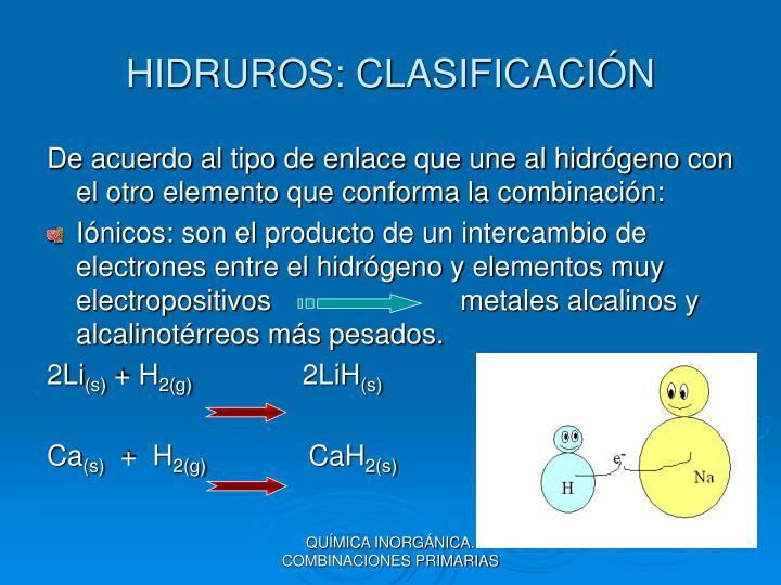 HIDRUROS: CLASIFICACIÓN
