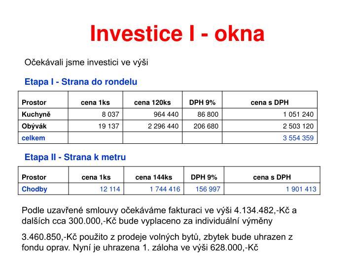 Investice I - okna