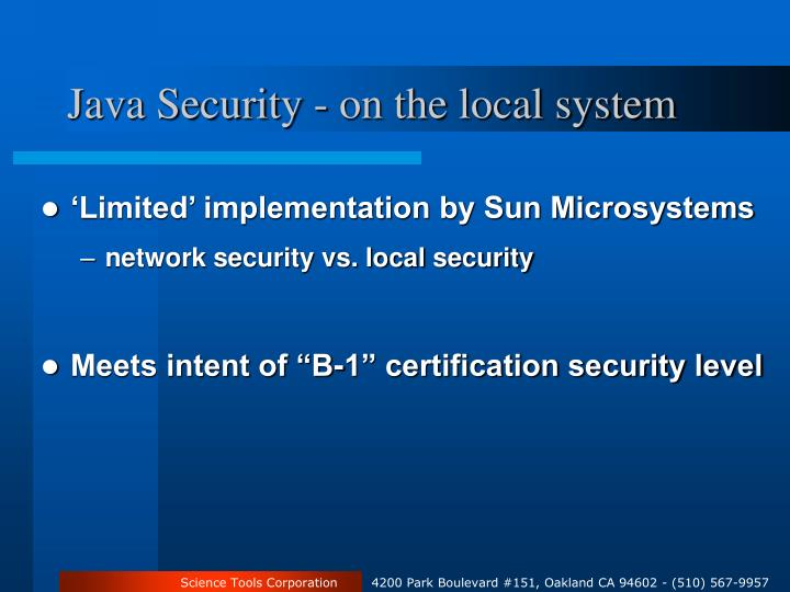 Java Security - on the local system