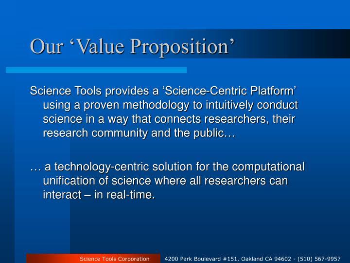 Our 'Value Proposition'