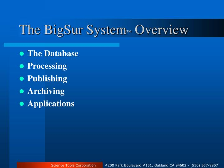 The BigSur System