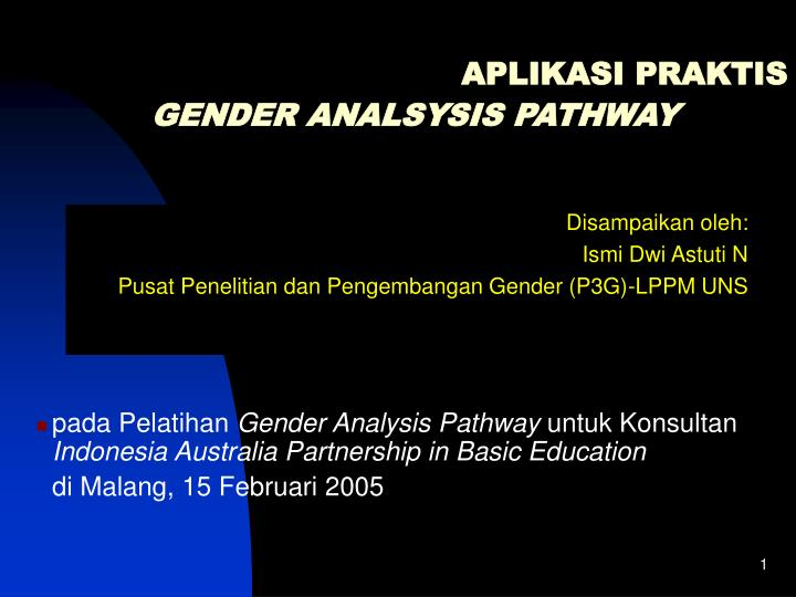 aplikasi praktis gender analsysis pathway n.
