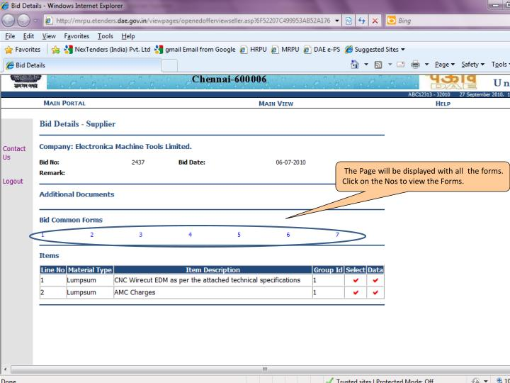 The Page will be displayed with all  the forms. Click on the Nos to view the Forms.