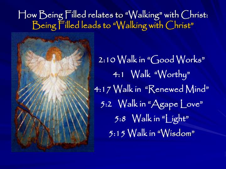 """How Being Filled relates to """"Walking"""" with Christ:"""