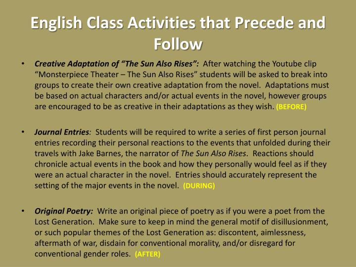 English Class Activities that Precede and Follow