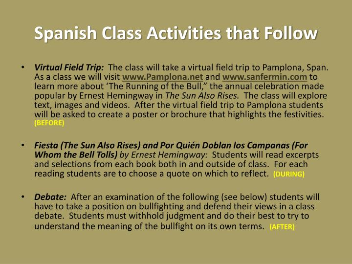 Spanish Class Activities that Follow