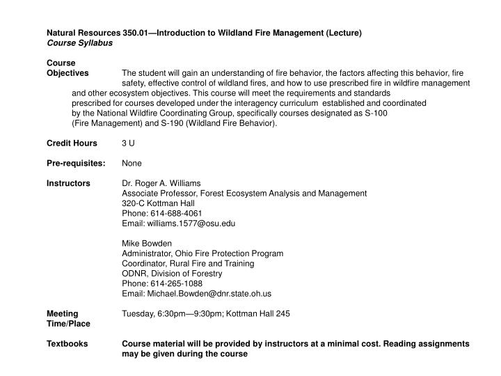 Natural Resources 350.01—Introduction to Wildland Fire Management (Lecture)
