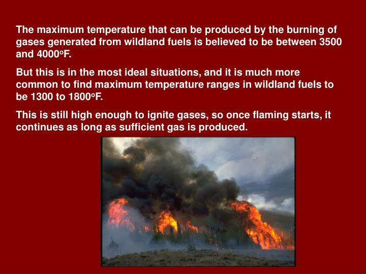 The maximum temperature that can be produced by the burning of gases generated from wildland fuels is believed to be between 3500 and 4000