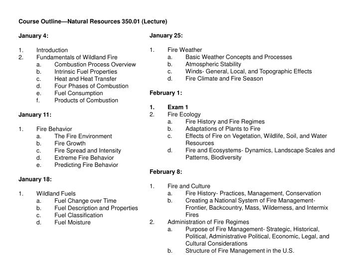 Course Outline—Natural Resources 350.01 (Lecture)