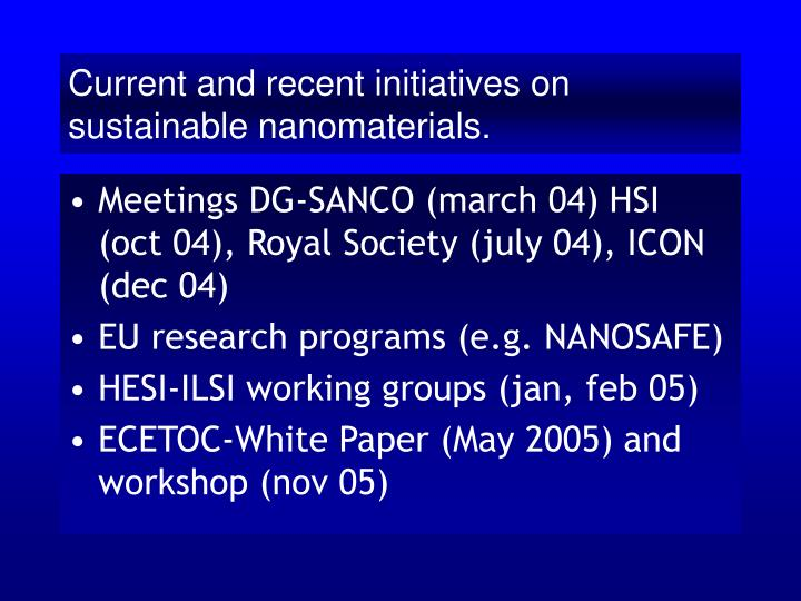 Current and recent initiatives on sustainable nanomaterials.