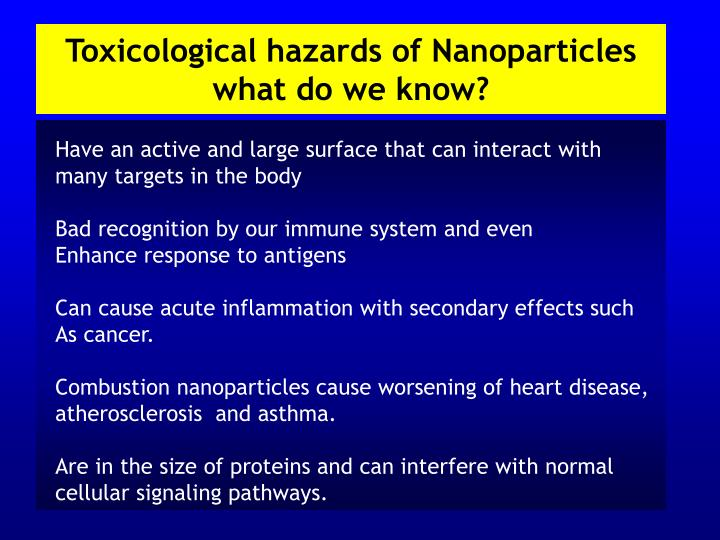 Toxicological hazards of Nanoparticles