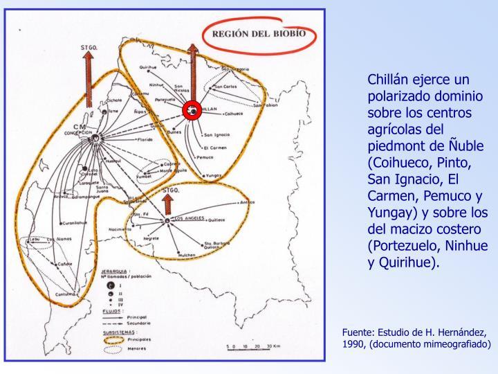Chillán ejerce un polarizado dominio sobre los centros agrícolas del piedmont de Ñuble (Coihueco, Pinto, San Ignacio, El Carmen, Pemuco y Yungay) y sobre los del macizo costero (Portezuelo, Ninhue y Quirihue).