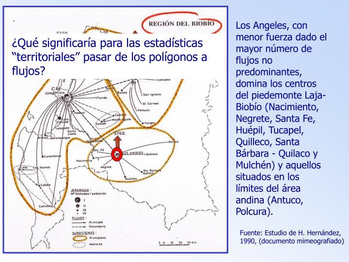 Los Angeles, con menor fuerza dado el mayor número de flujos no predominantes, domina los centros del piedemonte Laja-Biobío (Nacimiento, Negrete, Santa Fe, Huépil, Tucapel, Quilleco, Santa Bárbara - Quilaco y Mulchén) y aquellos situados en los límites del área andina (Antuco, Polcura).