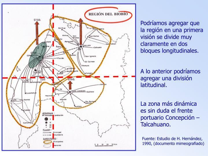 Podríamos agregar que la región en una primera visión se divide muy claramente en dos bloques longitudinales.