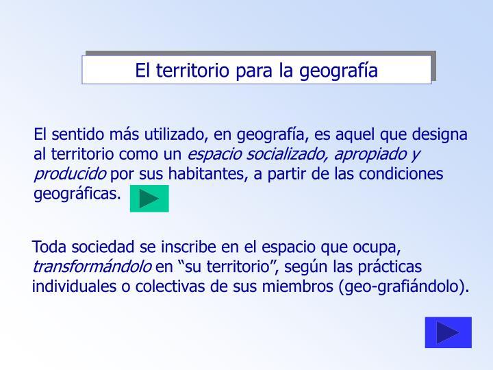 El territorio para la geografía