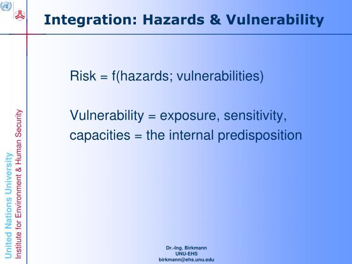 Integration: Hazards & Vulnerability