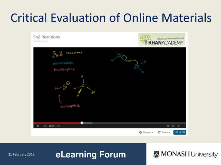 Critical Evaluation of Online Materials