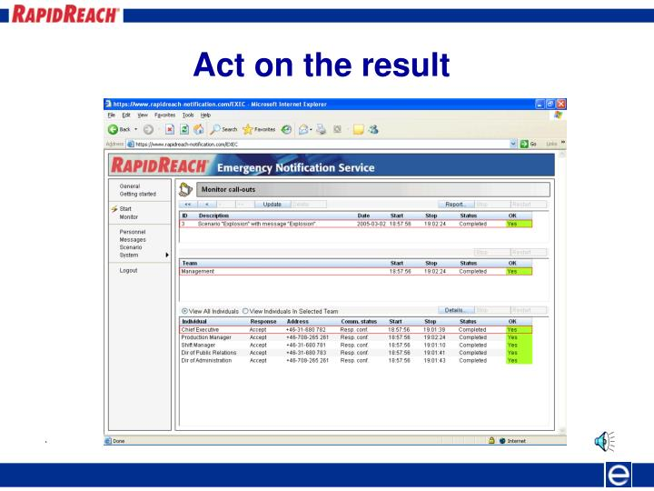 Act on the result
