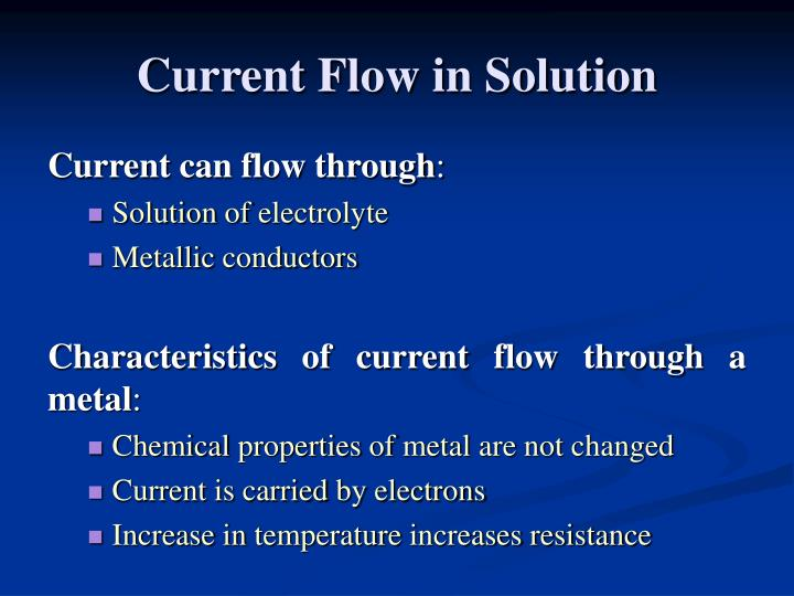 Current flow in solution