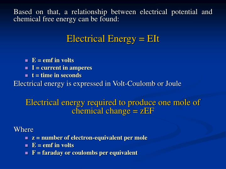 Based on that, a relationship between electrical potential and chemical free energy can be found: