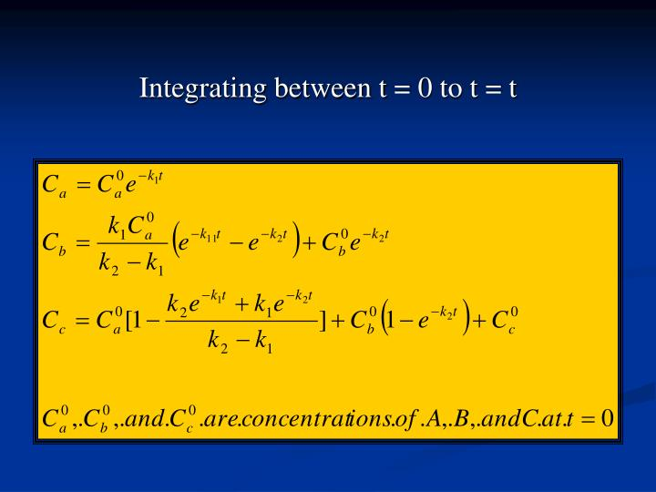 Integrating between t = 0 to t = t