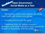 open government social media as a tool