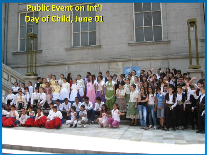 Public Event on Int'l Day of Child, June 01